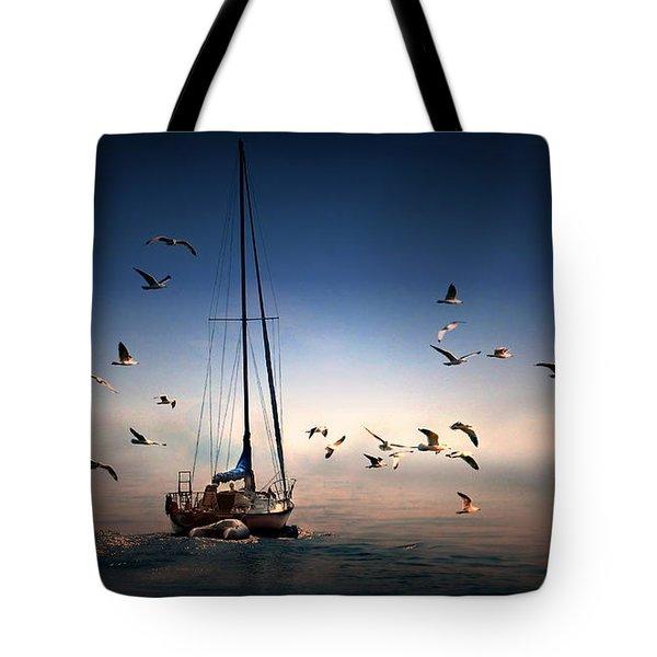 Into The Blue Tote Bag by Davandra Cribbie