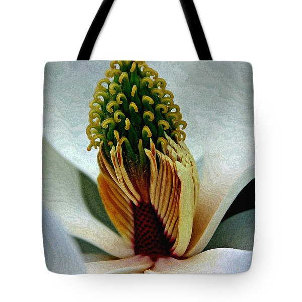 Into The Heart Of The Magnolia Drybrush Tote Bag by Andy Lawless