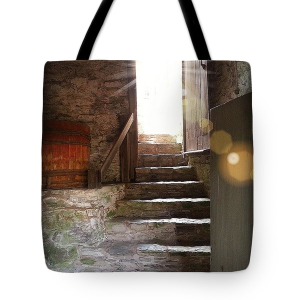 Tote Bag featuring the photograph Into The Light - The Ephrata Cloisters by Joseph J Stevens