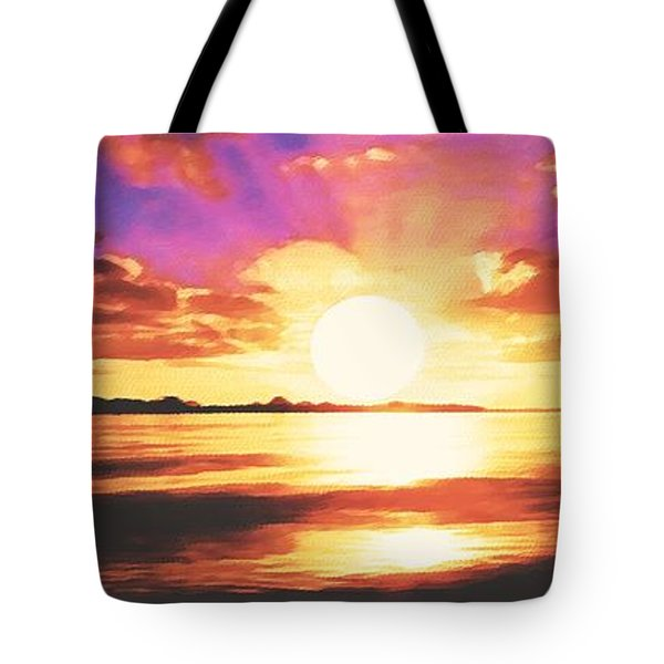 Tote Bag featuring the painting Into The Sunset by Sophia Schmierer