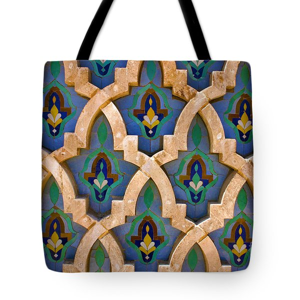 Intricate Zelji At The Hassan II Mosque Sour Jdid Casablanca Morocco Tote Bag