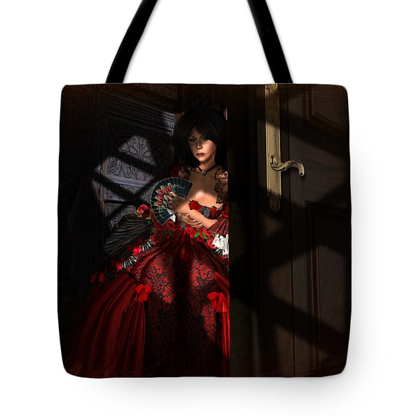 Tote Bag featuring the digital art Intrigue by Kylie Sabra