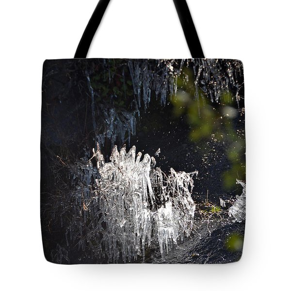 Intriguing Icicles In Yosemite Tote Bag by Debra Thompson