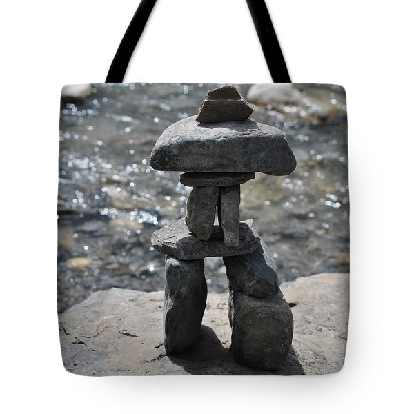 Inukshuk By The Water Tote Bag by Jim Hogg