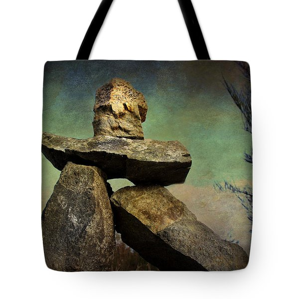 Tote Bag featuring the photograph Inukshuk I by Peggy Collins