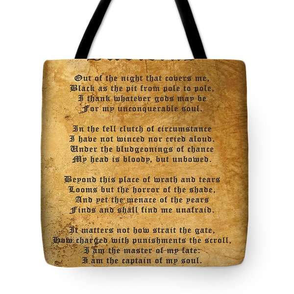 Invictus As A Tribute To Nelson Mandela Tote Bag