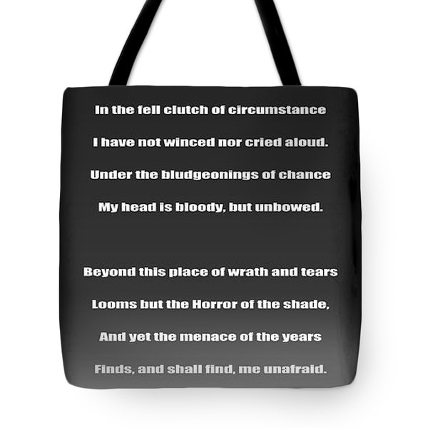Invictus By William Ernest Henley Tote Bag