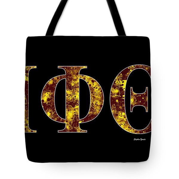 Tote Bag featuring the digital art Iota Phi Theta - Black by Stephen Younts