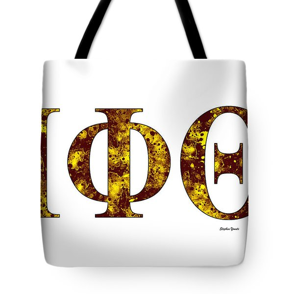Tote Bag featuring the digital art Iota Phi Theta - White by Stephen Younts