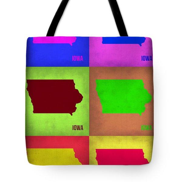 Iowa Pop Art Map 2 Tote Bag by Naxart Studio