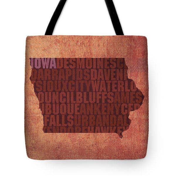 Iowa Word Art State Map On Canvas Tote Bag by Design Turnpike