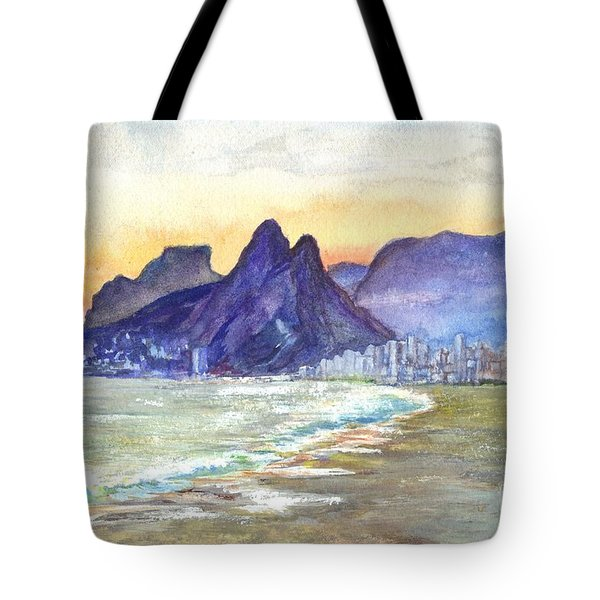 Sugarloaf Mountain And Ipanema Beach At Sunset Rio Dejaneiro  Brazil Tote Bag