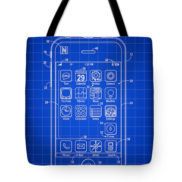 iPhone Patent - Blue Tote Bag