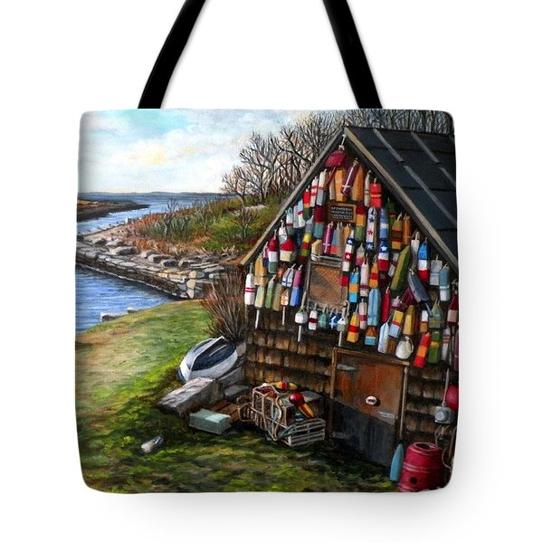 Ipswich Bay Wooden Buoys Tote Bag
