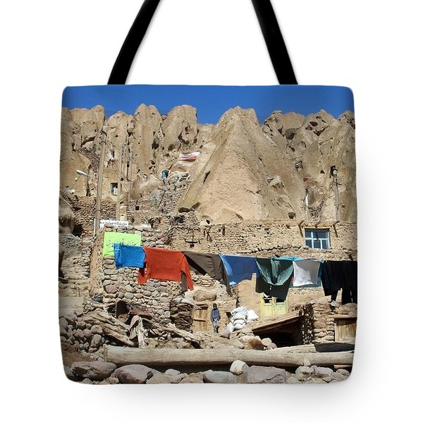 Iran Kandovan Stone Village Laundry Tote Bag by Lois Ivancin Tavaf