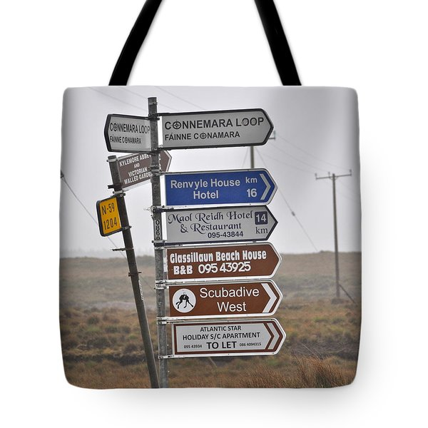Ireland Road Sign 1 Tote Bag