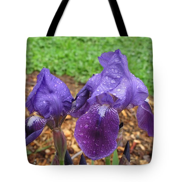 Tote Bag featuring the photograph Iris After Rain by Katie Wing Vigil