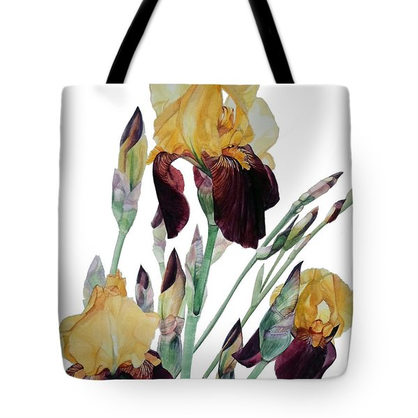 Watercolor Of Tall Bearded Iris In Yellow And Maroon I Call Iris Beethoven Tote Bag