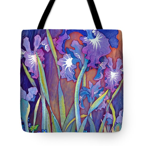 Tote Bag featuring the mixed media Iris Bouquet by Teresa Ascone
