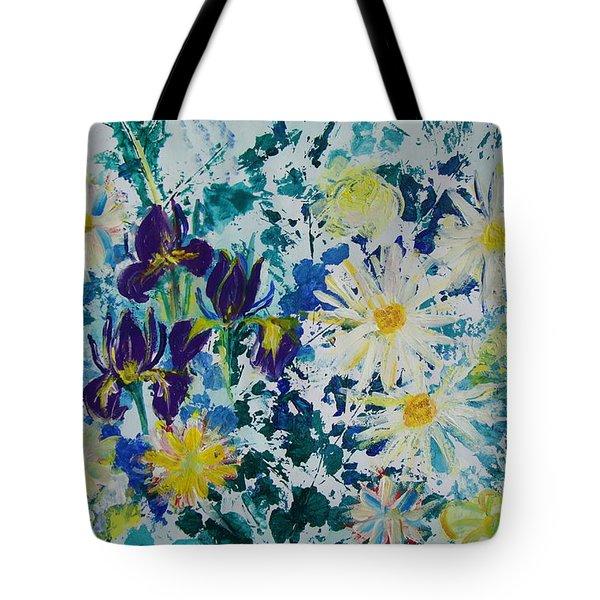 Iris Bouquet Tote Bag by Veronica Rickard