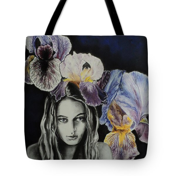 Tote Bag featuring the drawing Iris by Carla Carson