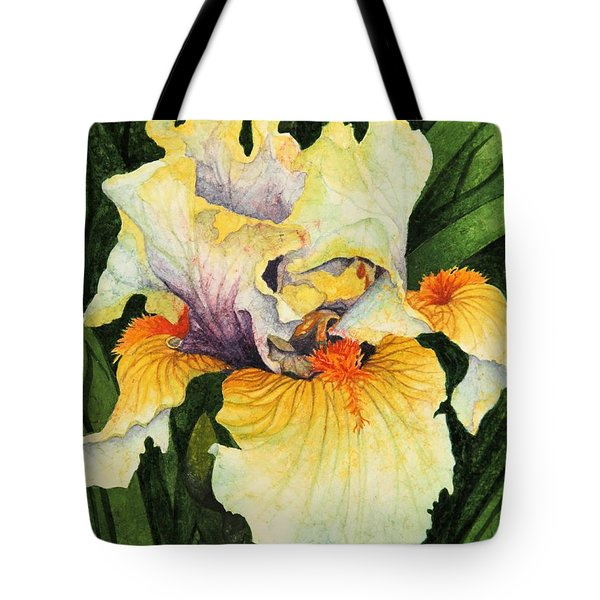 Tote Bag featuring the painting Iris Elegance by Barbara Jewell