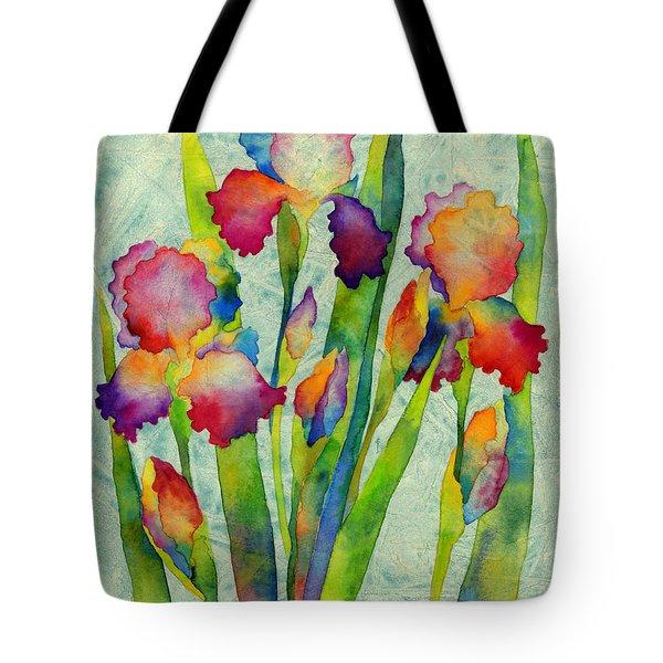 Iris Elegance On Green Tote Bag