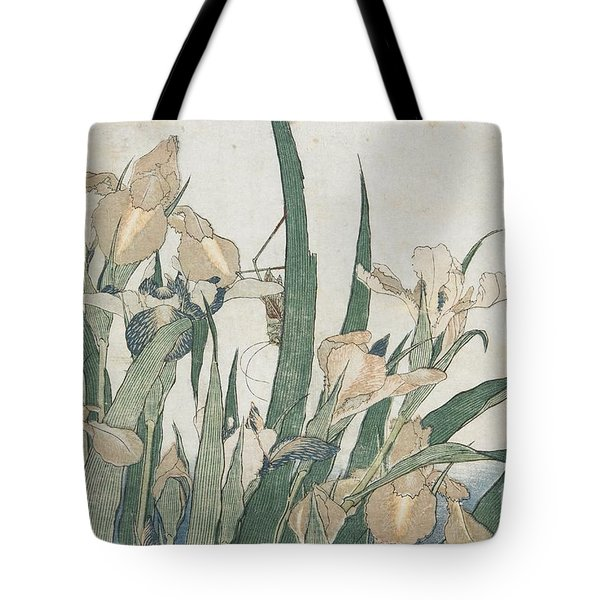 Iris Flowers And Grasshopper Tote Bag
