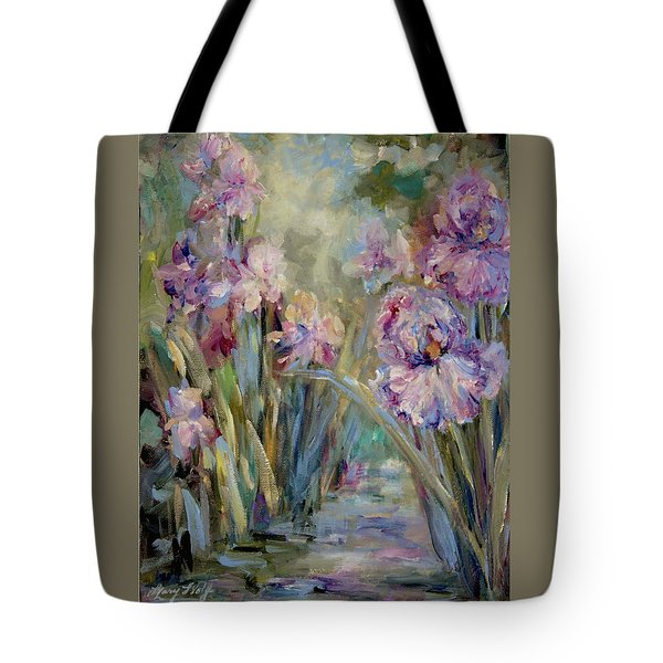 Iris Garden Tote Bag by Mary Wolf