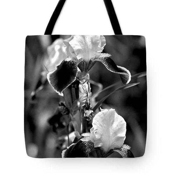 Iris In Black And White Tote Bag by Karon Melillo DeVega