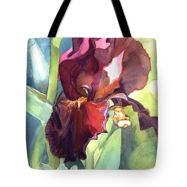 Watercolor Of A Tall Bearded Iris Called Sultan's Palace In Red And Burgundy Tote Bag