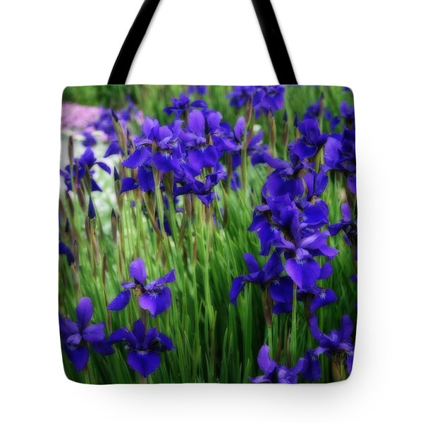 Tote Bag featuring the photograph Iris In The Field by Kay Novy
