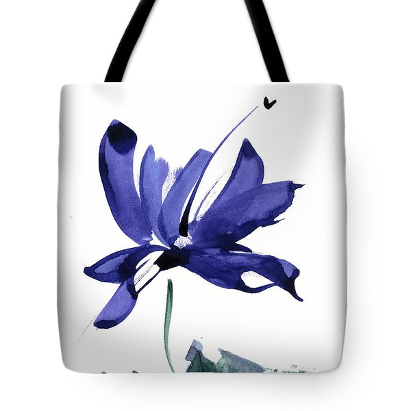 Iris In The Greenery Watercolor Tote Bag