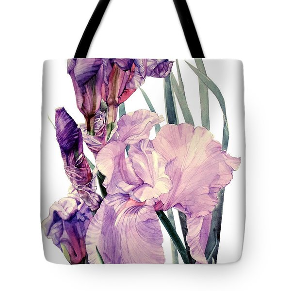 Watercolor Of An Elegant Tall Bearded Iris In Pink And Purple I Call Iris Joan Sutherland Tote Bag