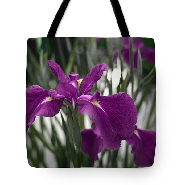 Tote Bag featuring the photograph Iris On Pond's Edge by Penny Lisowski