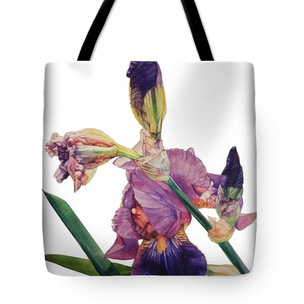 Watercolor Of A Tall Bearded Iris In A Color Rhapsody Tote Bag