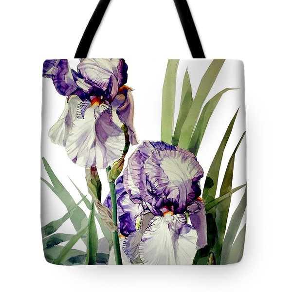 Watercolor Of A Tall Bearded Iris In Violet And White I Call Iris Selena Marie Tote Bag