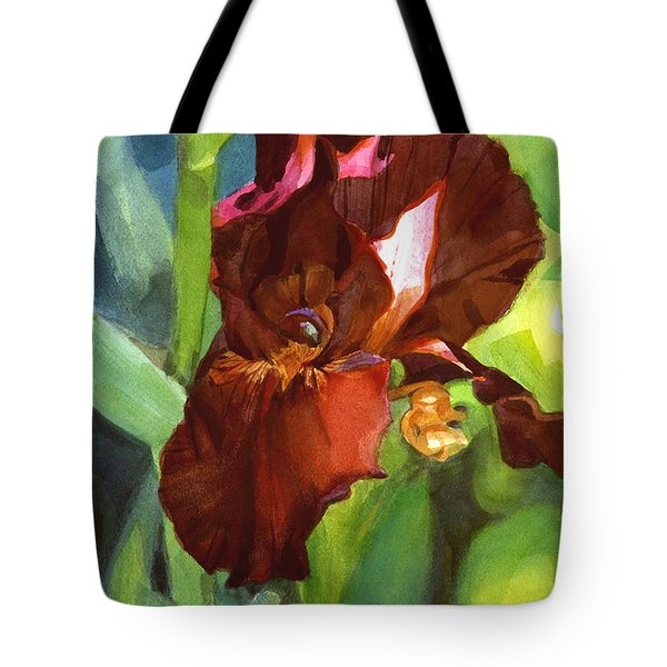 Watercolor Of A Tall Bearded Iris In Sienna Red Tote Bag
