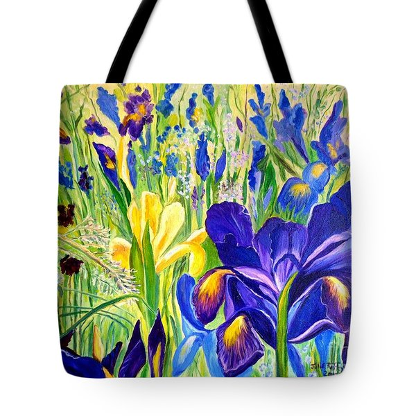 Iris Spring Tote Bag by Julie Brugh Riffey