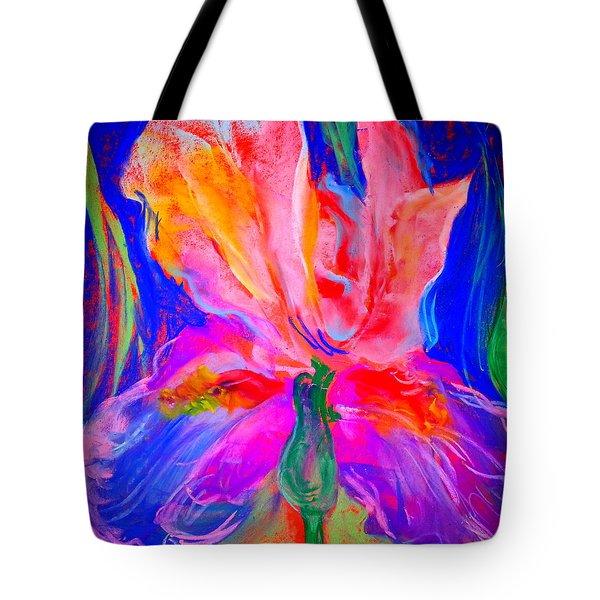 Funky Iris Flower Tote Bag
