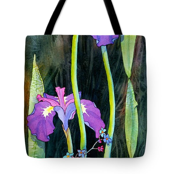 Tote Bag featuring the painting Iris Tall And Slim by Teresa Ascone