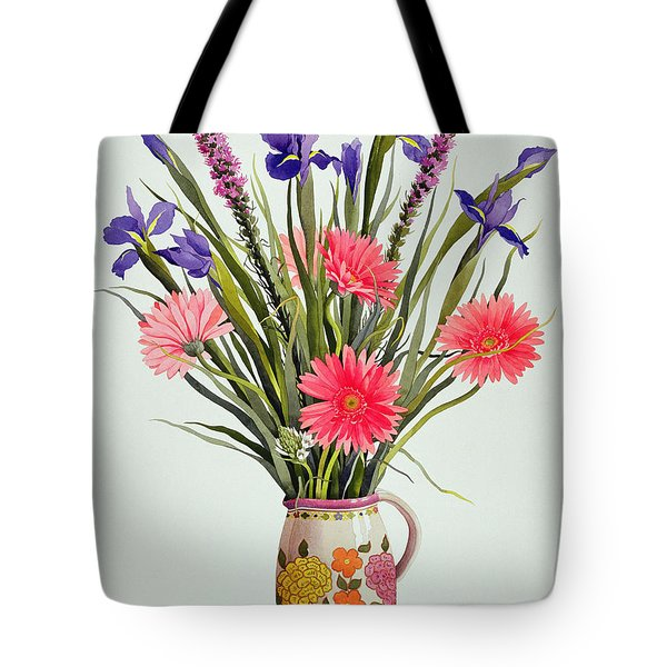 Irises And Berbera In A Dutch Jug Tote Bag by Christopher Ryland