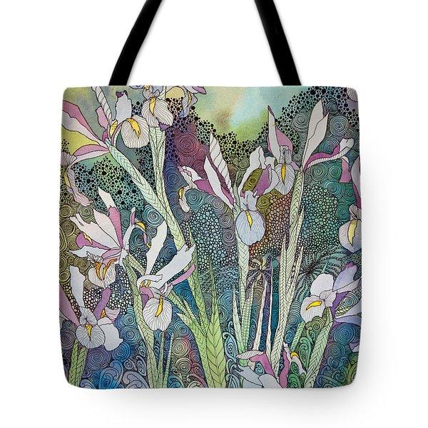 Irises And Doodles Tote Bag