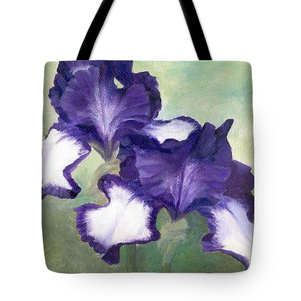 Irises Duet In Purple Flowers Colorful Original Painting Garden Iris Flowers Floral K. Joann Russell Tote Bag