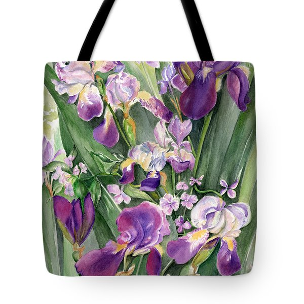 Irises In The Garden Tote Bag