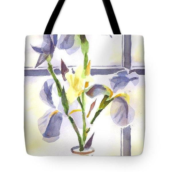 Irises In The Window II Tote Bag by Kip DeVore