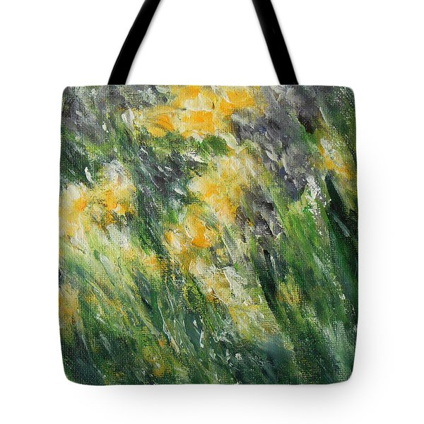 Tote Bag featuring the painting Irises by Jane See