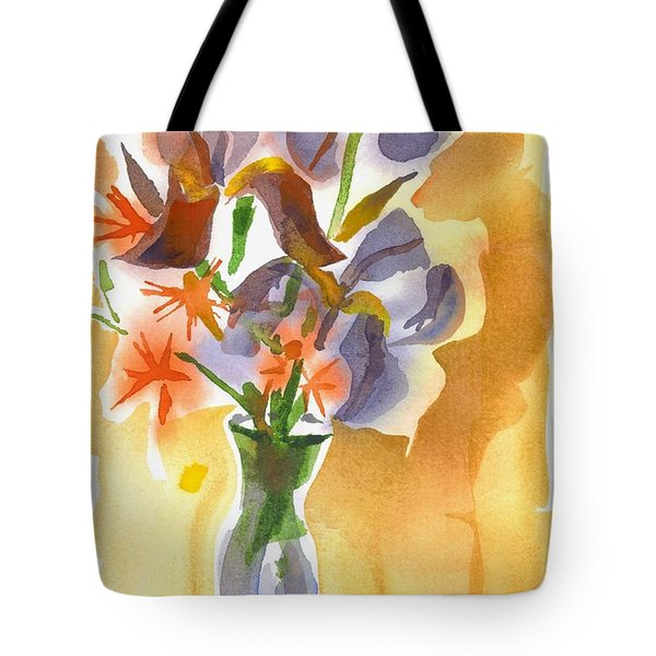 Irises With Stars Of Bethlehem Tote Bag by Kip DeVore