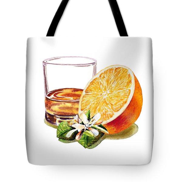 Tote Bag featuring the painting Irish Whiskey And Orange by Irina Sztukowski
