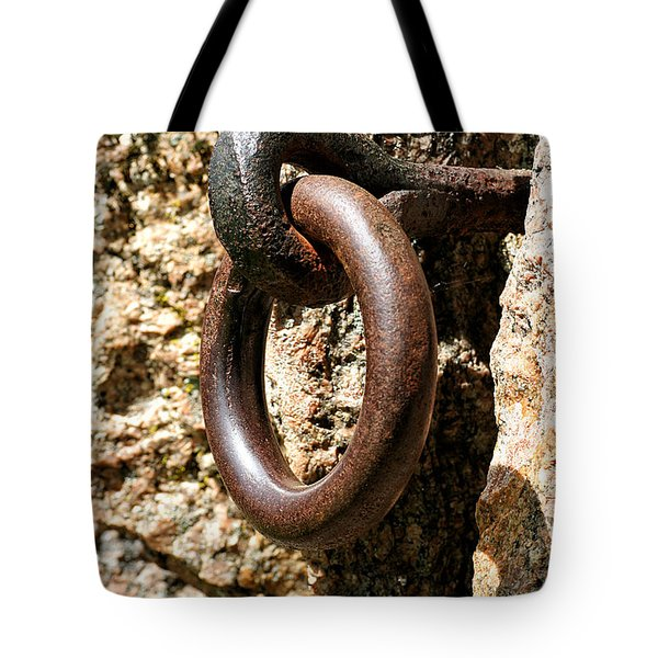 Iron Rings In Stone Tote Bag